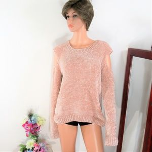 Express Soft Peach Thick Knit Cozy Sweater